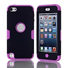 iPod Touch 5 Case,iPod Touch 6 Case, NOKEA Layered 3in 1 Hard PC Case Silicone Shockproof Heavy Duty High Impact Armor Hard Case for Apple iPod Touch 6 5th Generation (Black Purple)