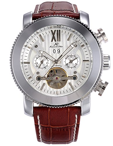 Mechanical Men's Leather White Dial Luxury Wrist Watch KS020 (Krone High Band)