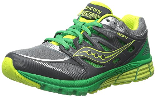 SAUCONY ZEALOT BOYS (GREY GREEN CITRON)//, GREY GREEN CITRON, 4.5 US