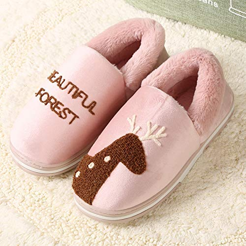 Comfortable Soft Touch Winter Cotton Slippers Waterproof Warm Thick Bottom Non-Slip Home Slippers Mens Indoor Bag with Womens Shoes Couple Cotton Shoes Color : Pink, Size : 3 Lihin Warm