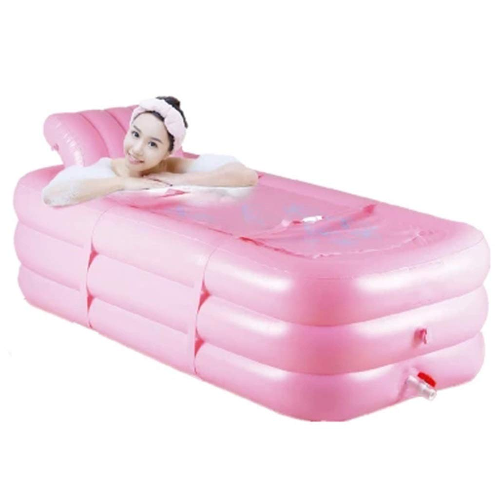 Folding bathtub Adult Inflatable Plastic Bathtub Thick Folding Shower Bath Outdoor Inflatable Bath Children's Pool Pink Adult Bathtub Gift (Color : Pink, Size : 1658545cm)