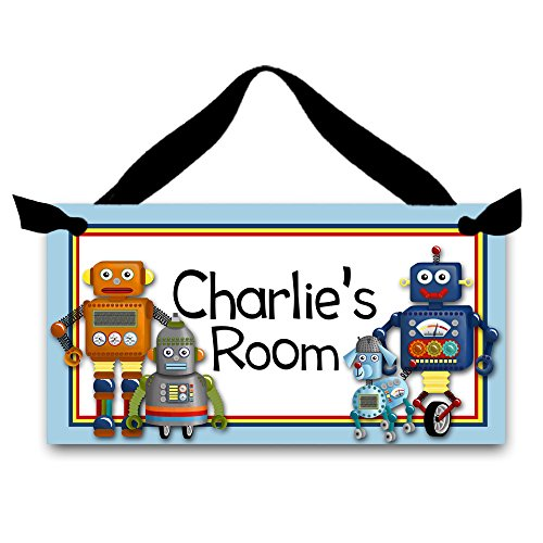 Toad and Lily I.am.a.Robot Boys Bedroom Kids Boys Personalized Name Sign DOOR SIGN Wall Art DS0104