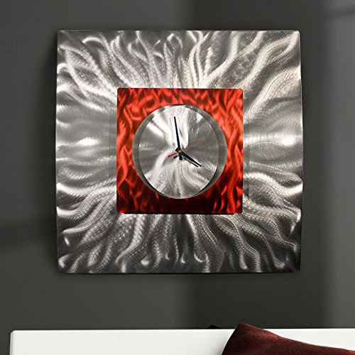 Eye-Catching Etched Silver & Red Jewel Tone 3D Contemporary Wall Clock - Hand-Crafted Modern Metal Wall Art, Functional Home Accent - Abstract Metal Timepiece - Fire Elemental Clock- 24-inch