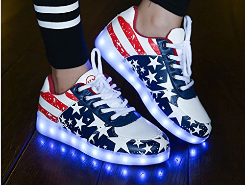 Men Leisure amp; Flat USB Blue Colorful Summer Shoes Light Charging Another LED Red Glowing Sneakers Women 7 Colors Luminous Unisex YWw01q