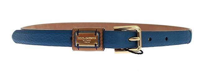 Dolce   Gabbana - Cuir Marron doré avec boucle Logo Ceinture  Amazon ... ed2ab5fa150