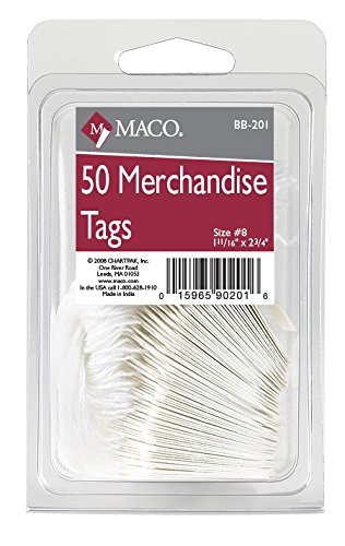 MACO White Strung Merchandise Tags, #8 - 1-11/16 x 2-3/4 Inches, 50 Per Pack (BB-201)