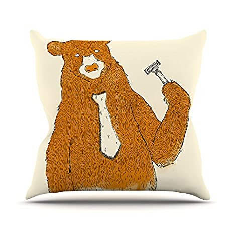 Kess InHouse Tobe Fonseca Work Throw Pillow 16 by 16 Brown Bear