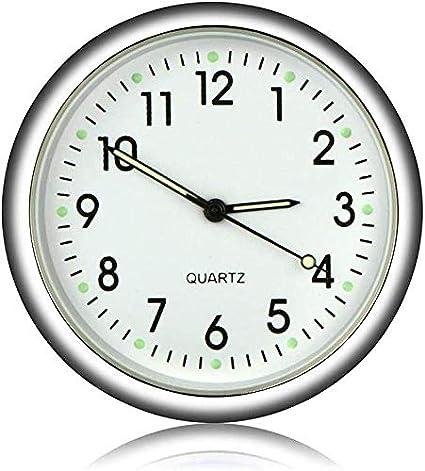 EEEKit Stick-on Car Dashboard Clock Reloj de Cuarzo analógico Redondo, Mini Relojes de Cuarzo Luminosos Decoración Motocicletas, automóviles, SUV y MPV
