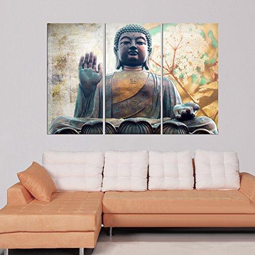 Modern landscape yellow buddha print on canvas wall art for Buddha wall art