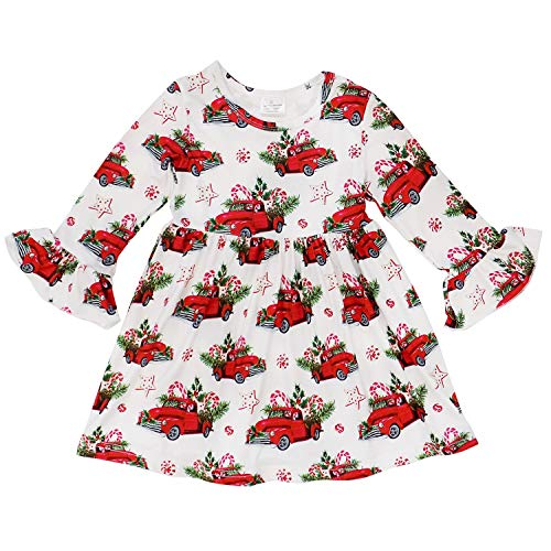 Boutique Christmas Dress (So Sydney Girls or Toddler Fall Winter Christmas Boutique Holiday Dress Long Sleeves (L (5), Christmas)