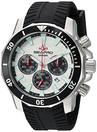 - Seapro Men's Scuba Dragon Diver Limite Stainless Steel Quartz Watch with Silicone Strap, Black, 22 (Model: SP8342R)