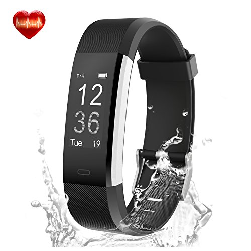 Fitness Tracker - LYOU X5 Plus Fitness Watch Heart Rate Monitor Activity Tracker - Waterproof Bluetooth Wireless Smart Bracelet Pedometer for Android and IOS Phones (Black)