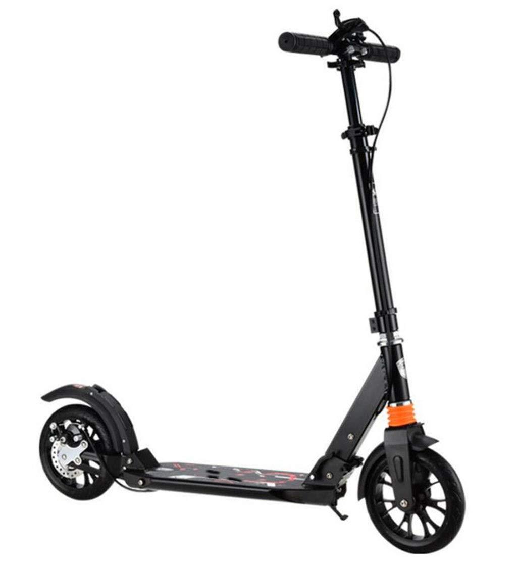 大人のペダルのスクーター二輪減衰スクーター調節可能な折りたたみスクーター耐久性のあるアルミスクーターサポート100キログラム 黒