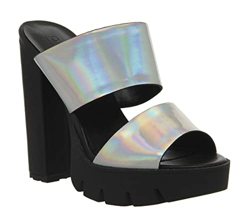 a1c75f0c5 Office Paige Cleated 2 Strap Mule Silver Holographic UK 7  Amazon.co.uk   Shoes   Bags