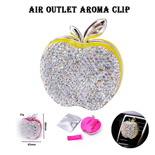 Haluoo Car Essential Oil Diffuser Vent Clip, Rhinestone Apple Shape Car Aromatherapy Essential Oil Diffuser Plastic Aroma Therapy Car Perfume Car Solid Fragrance Locket (Yellow)