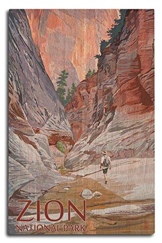 Lantern Press Zion National Park, Utah - Slot Canyon (10x15 Wood Wall Sign, Wall Decor Ready to Hang) (Best Slot Canyon Hikes Utah)