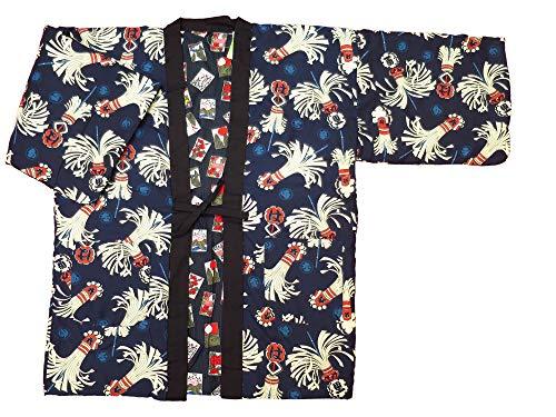 [소방 · 얽힌 감색] 일본식 디자인면 들어가 호텔 뒤집을 남성용 프리 사이즈  (신장 83cm 품 68cm 유키 길이 71cm)