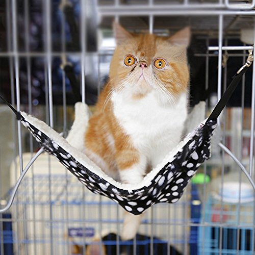 Bed Pet Cradle (Fashion Cat Kitty Hammock for Pet Ferret Chinchilla Rabbit Puppy Cozy Warm Fleece Bed Bunk Cage Chair Nest Swing Hanging Cat Kitten Hammock Lounge Sleepy Mat Pad Cradle for Small Animals up to 15 lbs)