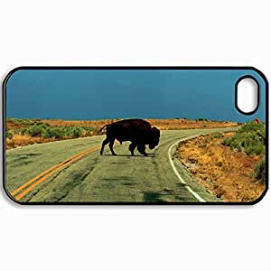 Customized Cellphone Case Back Cover For iPhone 4 4S, Protective Hardshell Case Personalized Buffalo Black