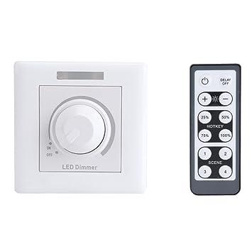 Fdit Regulador de Atenuador LED 200W con Control Remoto IR Controlador Remoto de 12 Teclas Ajustable para Luz de Panel de Gabinete para Hogar (220V): ...