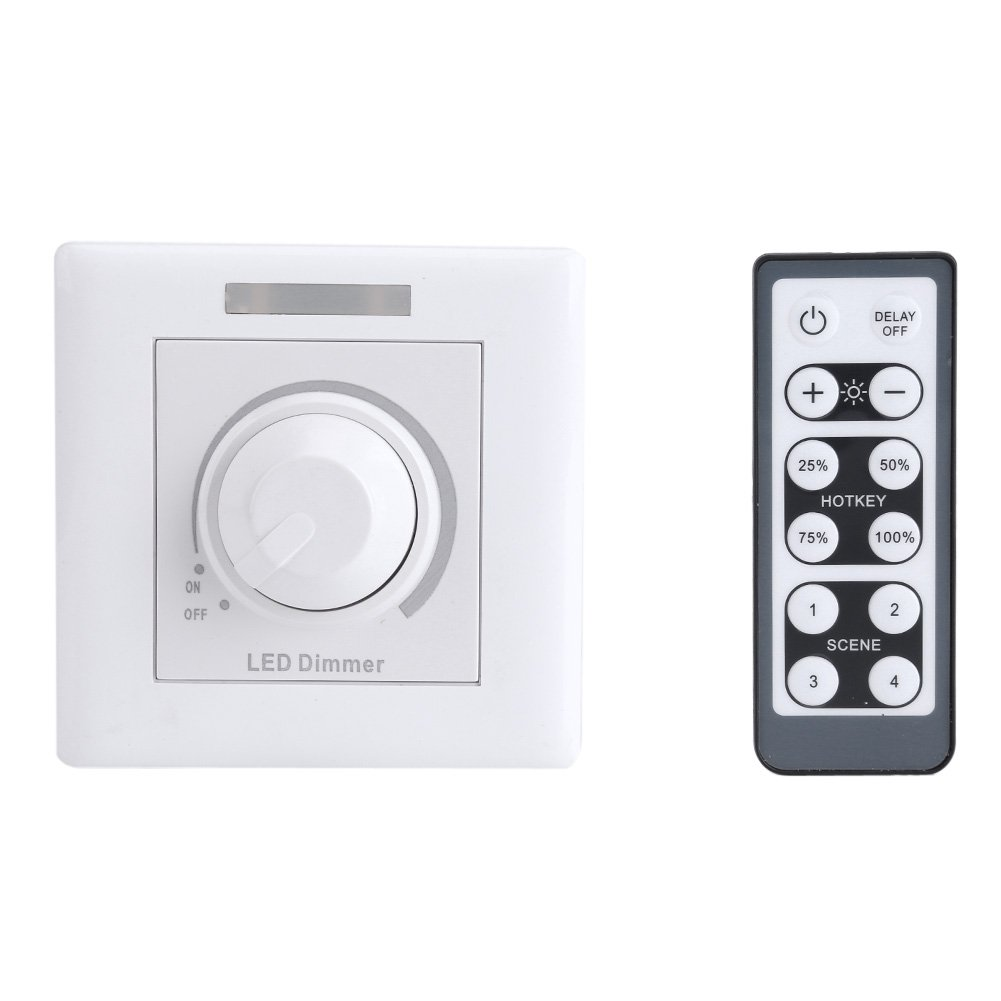 LED Dimmer Switch with IR Remote Controller Adjustable 12-key Remote Controller for Home Cabinet Panel Light 200W(110V)