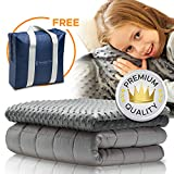 Snuggle Pro Weighted Blanket for Kids - 5 lbs Heavy Blanket for Sleeping, 36''x48'' - Set with Bamboo & Minky Reversible Cover - Great Comfort for Children, Toddlers - Sensory Calming Weighted Blanket