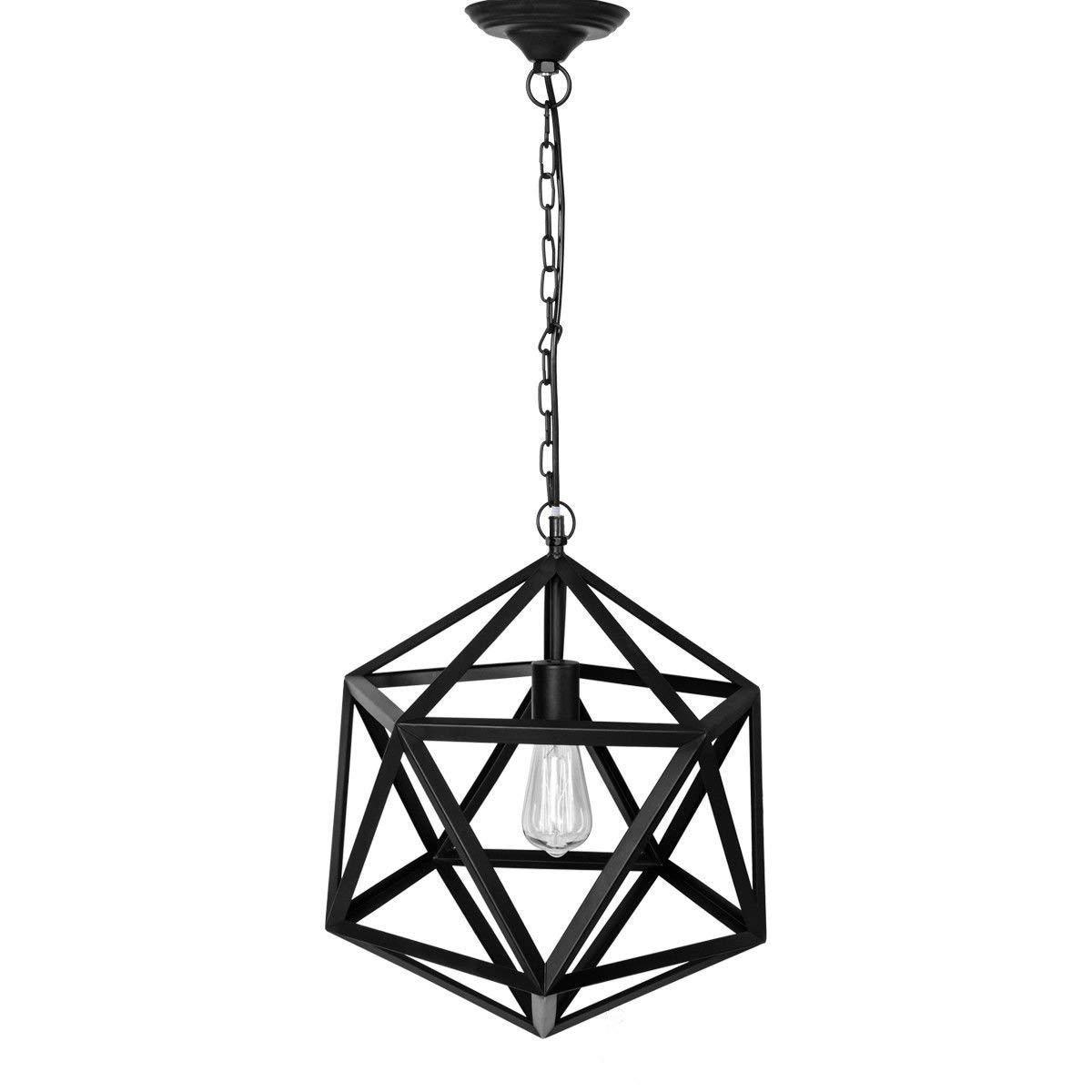 Tangkula Pendant Lighting Vintage Industrial Edison Hanging 1 Light Cage Loft Lamp Guard (Rhombus)