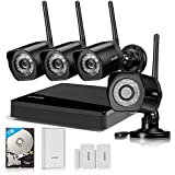 Zmodo All-in-One Kit 4CH NVR 720p HD WiFi Day Night Home Video Security Cameras System 1TB Hard Drive, WiFi Range Extender and 2 Door/Window Sensors