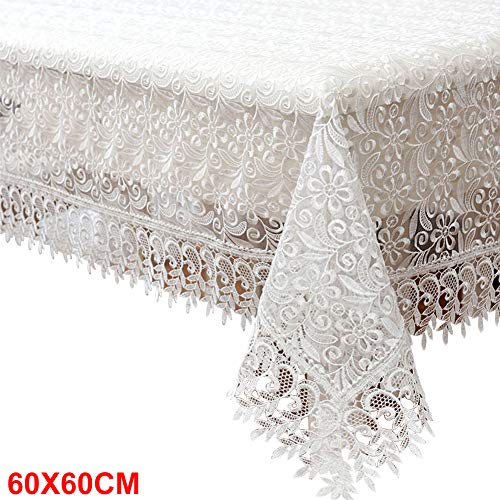 Kathleen88 Table Cloth European Home Decor Wedding Country Chair Dinning Rural Textile for Events Embroidered Lace Translucent Cover Party Floral(60x60cmWhite)