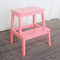 GXYGWJ - Escalera multifunción de madera maciza de dos peldaños, elevador adecuado para el salón de la cocina, 25 x 40 x 50 cm, escalera rosa: Amazon.es: Hogar