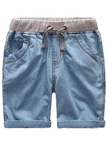 Mallimoda Boys Denim Jeans Washed Pull-On Shorts (1-2 Years, Light - Drawstring Unisex Denim Pant