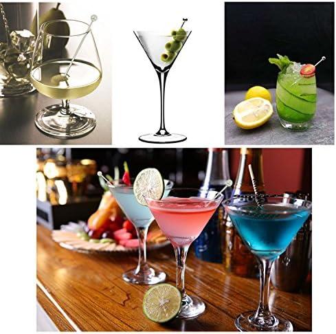 15 Stück Edelstahl Cocktail Spieße mit 2 mischen Sticks, timgou Martini Picks Fruit Sticks 10,9 cm 3 Stil mit Sektquirl