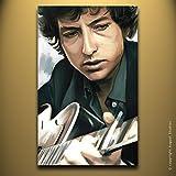 "BOB DYLAN Original Print Poster Artwork Wall Decor Artist Signed Canvas Art Print # 2 (Large 30"" x 18"")"