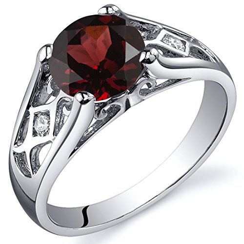 Garnet Solitaire (Cathedral Design 1.50 carats Garnet Solitaire Ring in Sterling Silver Rhodium Nickel Finish Size 7)