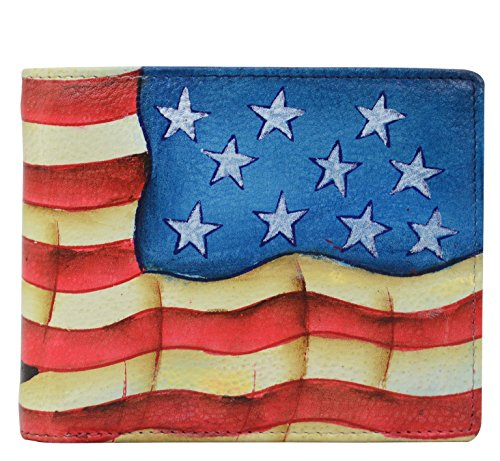 Anuschka Hand Painted Leather RFID Blocking Two Fold Men's Wallet (Stars and Stripes 3000 STS)