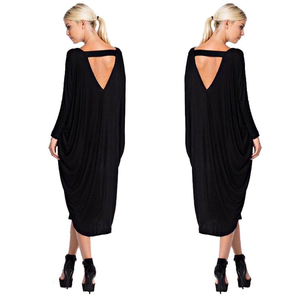 Longwu Womens Autumn Long Sleeve Cotton Overall Dress Loose Fit, Black, Medium