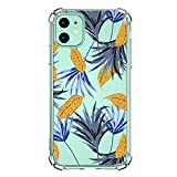 Clear Case for iPhone 11 - Case Clear with Design Slim Protective Soft TPU Bumper Embossed Pattern [Support Wireless Charging] Cover for iPhone 11 Flower (17)