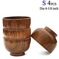 Cospring Set of 4 Solid Wood Bowl, 4-1/8 inch Dia by 2-5/8 inch, for Rice, So...