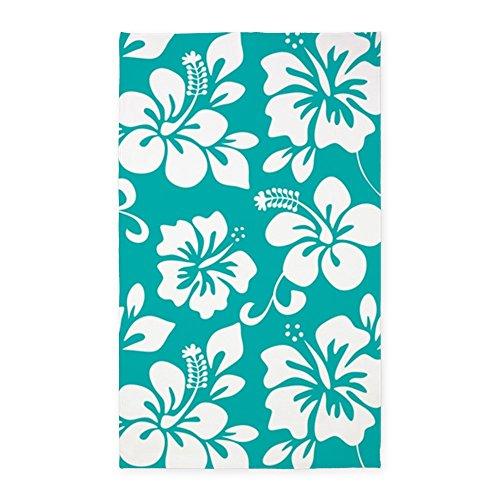 Aloha Surf Rug Carpet Mat (CafePress - Turquoise Hawaiian Hibiscus 3'X5' - Decorative Area Rug, Fabric Throw Rug)