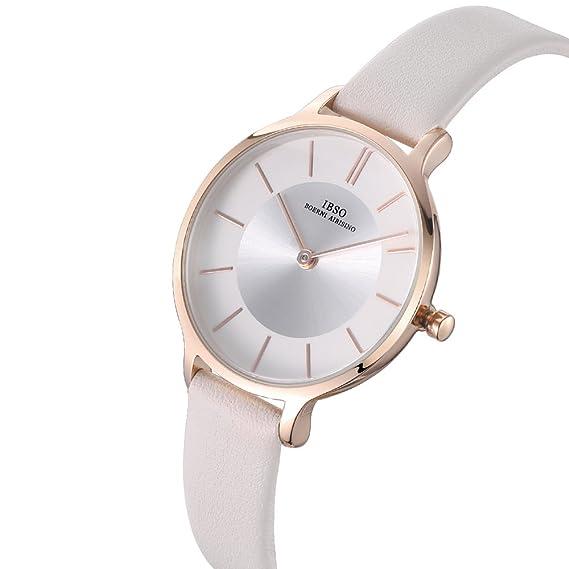 Amazon.com: IBSO Women Fashion Simple Watch Ultra-Thin Retro Quartz Analog Leather Strap Ladies Wristwatch (White): Watches
