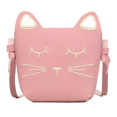 CMK Trendy Kids Cute Cat Toddler Purse for Little Girls, Kids Crossbody and Shoulder Bag Ages 3-10 (82010_pink) (Cat Toy Gift Purse)