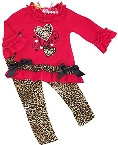 Boutique Clothing Girls Valentine Hearts Animal Print Cheetah Leopard Legging Set ()