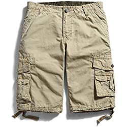 OCHENTA Men's Cotton Casual Multi Pockets Cargo Shorts #3231 khaki 34