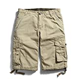 OCHENTA Men's Cotton Casual Multi Pockets Cargo Shorts #3231 khaki 36