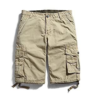 Men's Cotton Loose Fit Multi Pocket Cargo Shorts