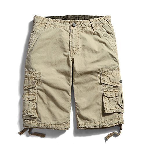 OCHENTA Men's Cotton Casual Multi Pockets Cargo Shorts #3231 khaki 31 ()