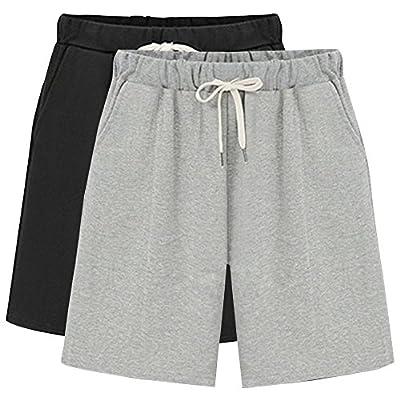 Gooket Women's Elastic Waist Soft Jersey Knit Bermuda Shorts with Drawstring | Amazon.com