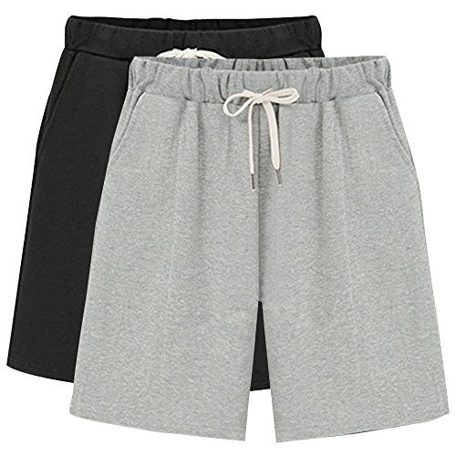Gooket Women's Elastic Waist Soft Knit Jersey Bermuda Shorts with Drawstring 2 Pack Black+Grey Tag 3XL-US 12-14