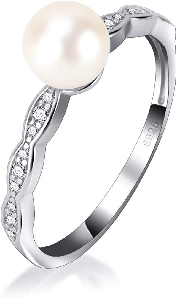Sterling Silver White Pearl Twist Ring