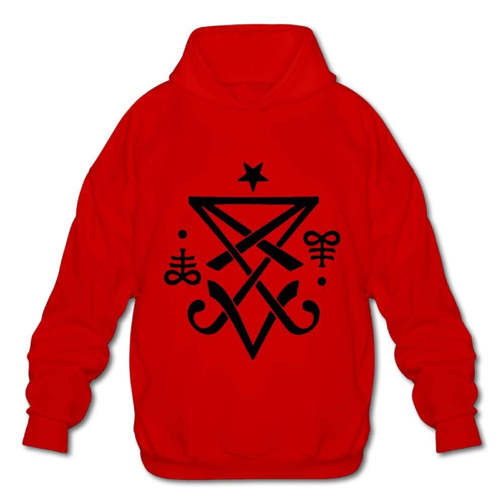 OPQRSTQ-O Occult Sigil of Lucifer Satanic Mens Printed Hooded Sweatshirt Hoodie